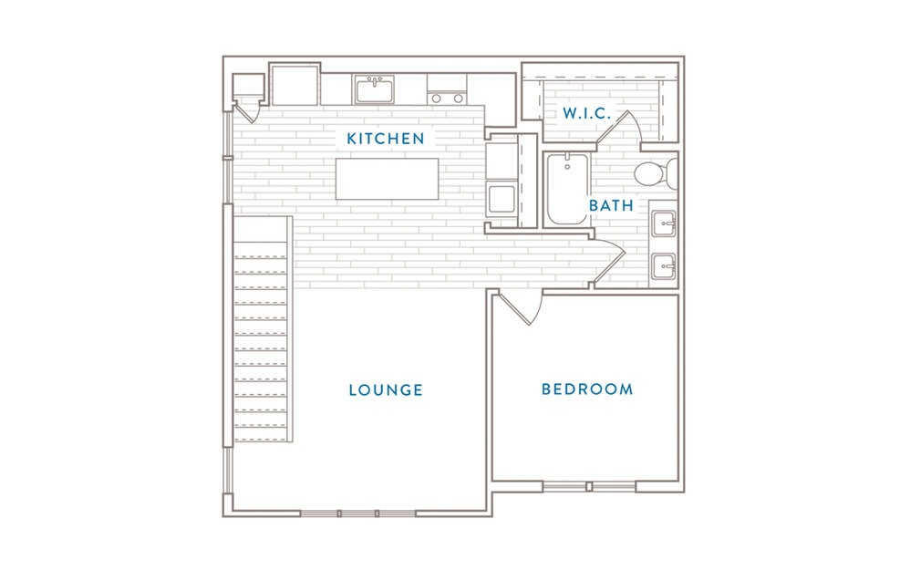 A7D - 1 bedroom floorplan layout with 1 bath and 1149 square feet. (Floor 1)