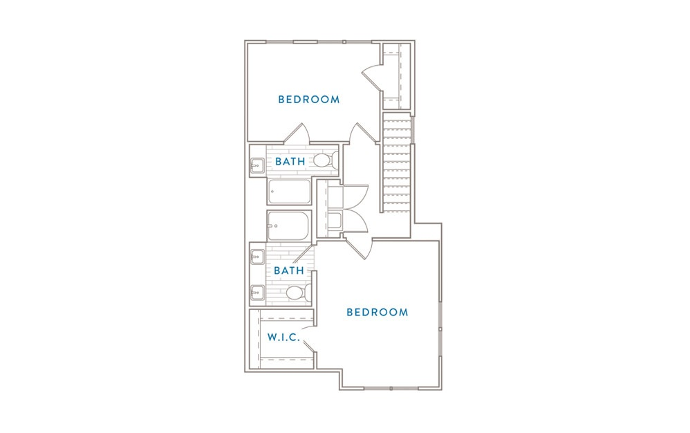 B4MS - 2 bedroom floorplan layout with 2 baths and 1174 square feet. (Floor 2)