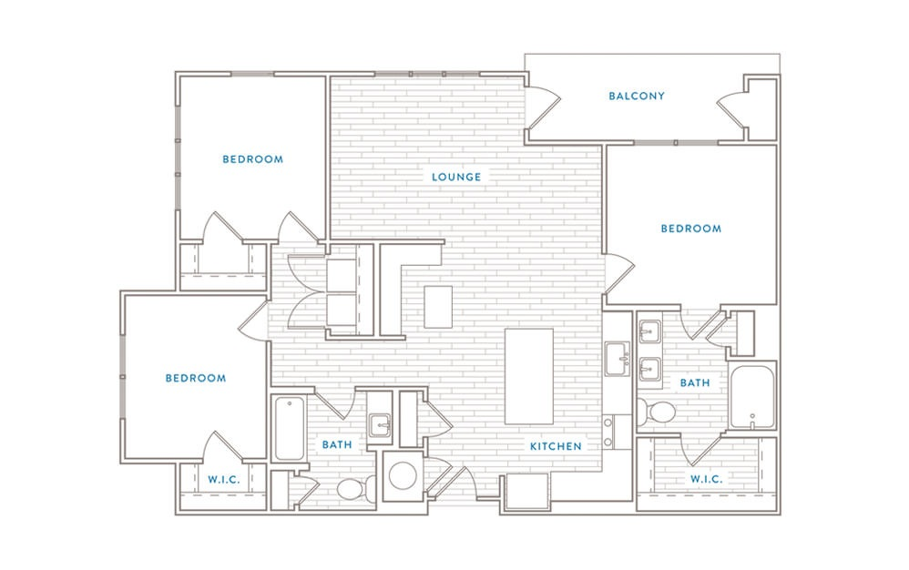 C1 - 3 bedroom floorplan layout with 2 baths and 1373 square feet.