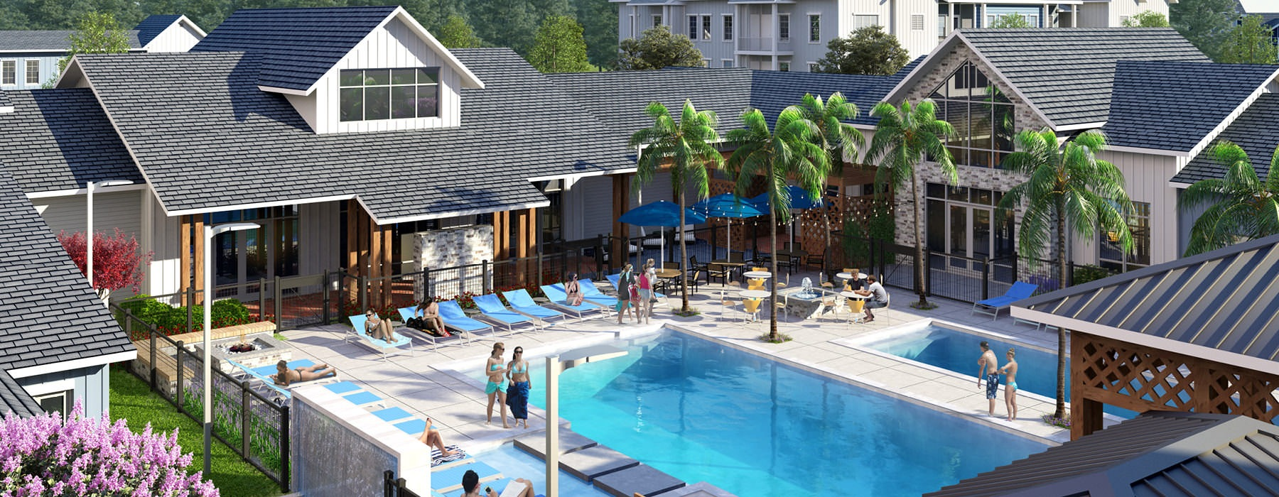 rendering of outdoor swimming pool area